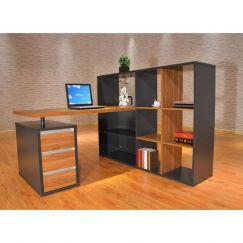 Niven Modern Workstation with Display Cabinet | Modern Furniture