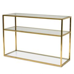 Noel 1.2m Glass Console Table | Gold Base | Interior Secrets