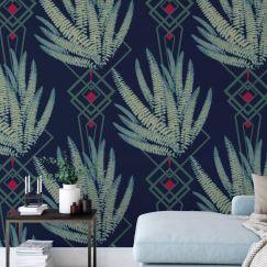 Octavia - Nature's Glamour | Eco Wallpaper | Octavia Deep Blue | Amba Florette