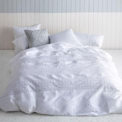 Odette Bed Linen Quilt Cover Set White by Kas Australia