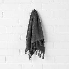 Paros Hand Towel | Charcoal by Aura Home