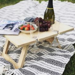 Pine Folding Wine Table | 4 | Glass