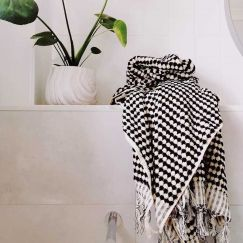 Pom Pom Turkish Bath Towel | Black and White