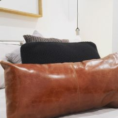 Patched Leather Cushion Cover Rectangle | by Brodie & Co