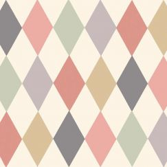 Punchinello Wallpaper - Coral & Green