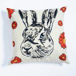 Rabbitgirl Linen Pillow