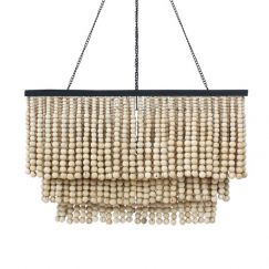 Rectangle Beaded Chandelier | Natural | by Raw Decor