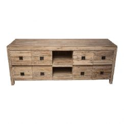 Recycled Teak 8 Drawer TV Entertainment Unit