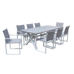 Redcliffe 9-Piece Aluminium Outdoor Dining Setting | White