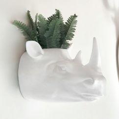 Rhino Head Planter | Wall Planter White