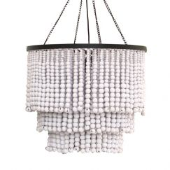 Round Beaded Chandelier | White | by Raw Decor
