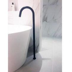 Round Freestanding Matte Black Bath Filler