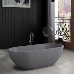 Ryeze Grey Terrazzo Stone Bath 1600