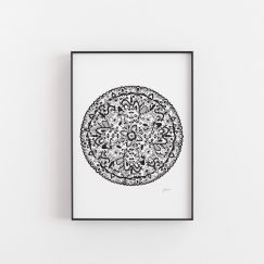 Sahara Decor Mandala in Black Wall Art Print by Pick a Pear | Unframed