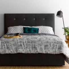 Samantha's charcoal bedhead   White Stitch   by Billy's Beds