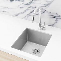 Single Bowl PVD Kitchen Sink | 440x380x200mm | Brushed Nickel