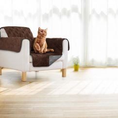 Sprint Industries Pet's Sofa Cover | Chocolate/Charcoal Reversible | Single Chair