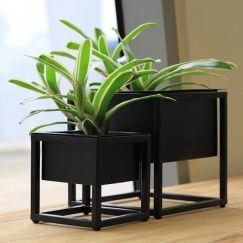 Table Metal Planters in Black | Set of 2 by SATARA