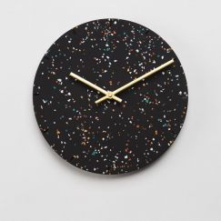 Terrazzo Clock in Black or White | by Capra Designs