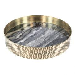 The Orbit Tray | Smokey Marble and Diamond Pattern Brass | Small