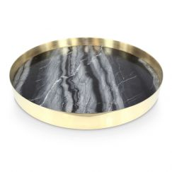 The Orbit Tray   Smokey Marble and Polished Brass  Large