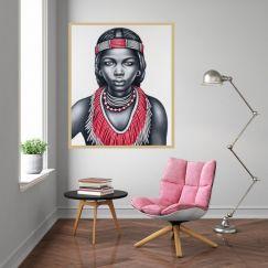 Tribal Girl | Canvas Artwork | 3027 PNK | FRAMED by Colour Clash Studio