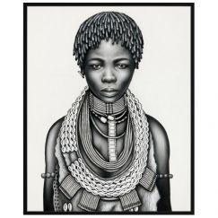 Tribal Girl with Dreadlocks   P3029-Mono   Framed Canvas Print   Colour Clash Studio