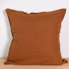 Two French Linen Raw Edge European Pillowslips by Bedtonic | Terracotta