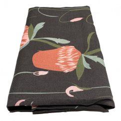 Untamed Banksia Black Linen Tablecloth | By Tim Neve