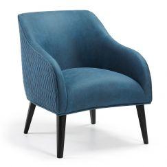 Valentine Nubuck Quilted Armchair  | Blue