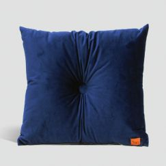 Velvet Cushion with Centre Button Detail | 51 x 51cms | Insert Included | Royal Blue