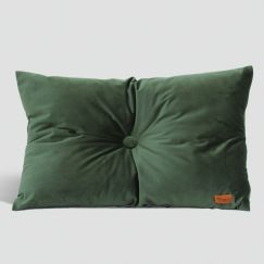 Velvet Cushion with Centre Button Detail | Lumbar | Insert Included | Olive Green
