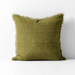 Vintage Linen Fringe Cushion   Olive by Aura Home