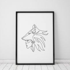 Warrior | Tribal Mono Line Print | Framed or Unframed