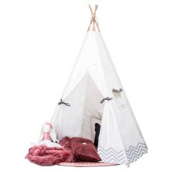 Pearly Moon white tipi with grey design perfect for kids first birthday or present for boys and girl