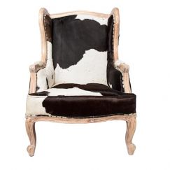 Wing Back Armchair | Black/Chocolate and White Cowhide