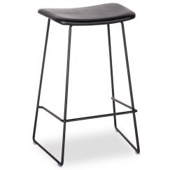 Winnie Stool - Black Frame With Black Leather Seat