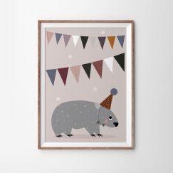 Wombat Bunting Poster Print   49 x 70cm