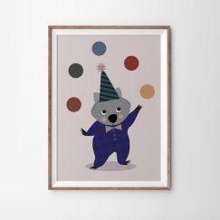 Wombat Juggling Poster Print   49 x 70cm