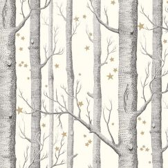 Woods & Stars Wallpaper - Black on White & Gold Stars