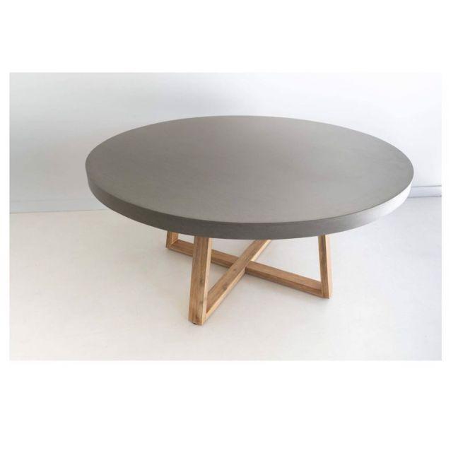 1.6m Elkstone Round Alta Dining Table   Pebble Grey & Light Honey  Pre-order
