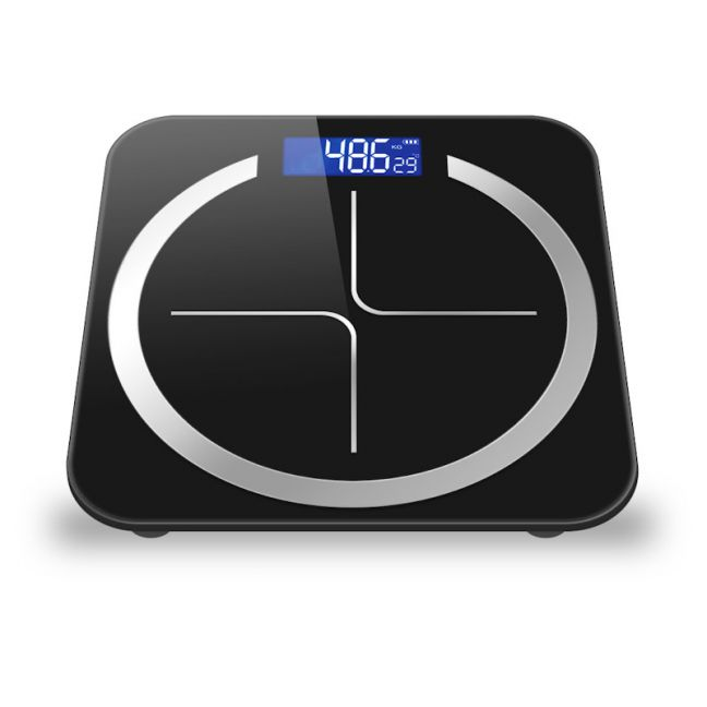 180kg Glass LCD Digital Fitness Weight Bathroom Body Electronic Scales Black