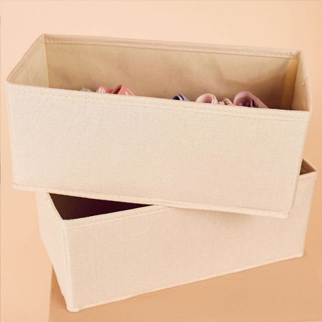 2 Pack Clothes Storage Boxes in Vanilla Linen | Medium Size