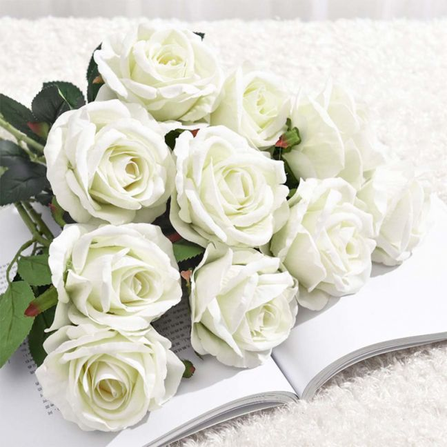20pcs Artificial Silk Flower Rose Bouquet | White