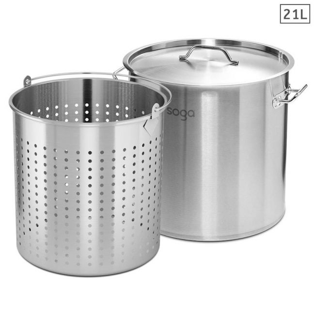 21L Stainless Steel Stockpot with Perforated Basket Pasta Strainer