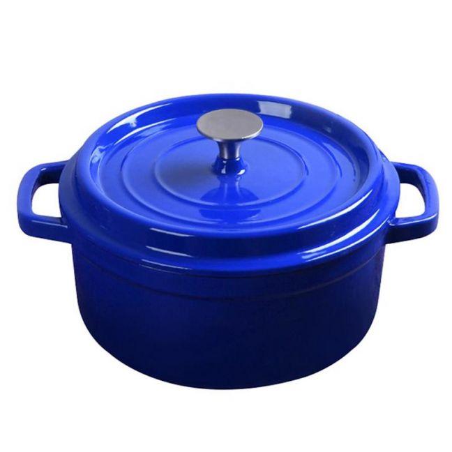 24cm Cast Iron Enamel Porcelain Cooking Pot with Lid   3.6L   Blue