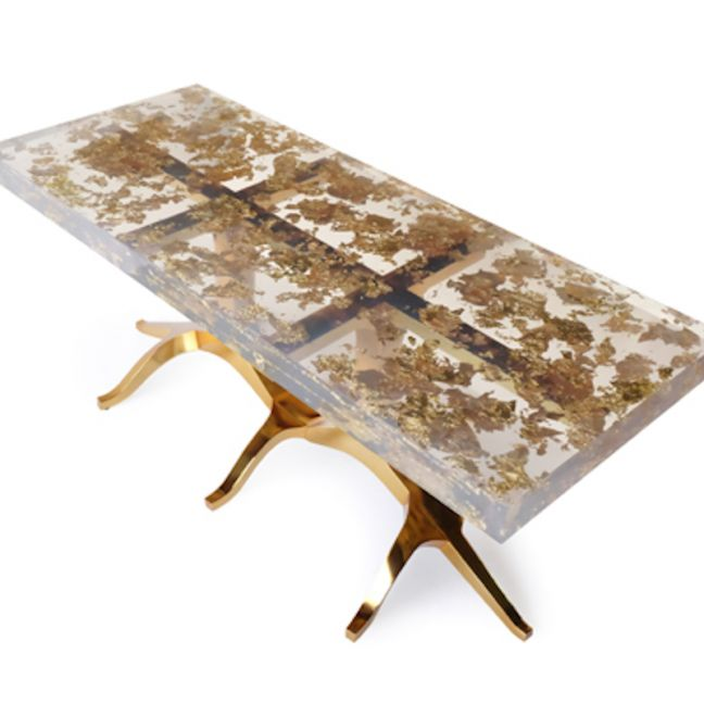 24ct Gold-Leaf Resin & Brass Dining Table | by Cocolea Furniture | Pre Order