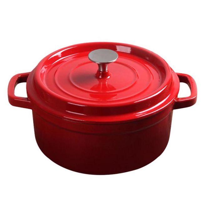 26cm Cast Iron Enamel Porcelain Cooking Pot with Lid | 5L | Red