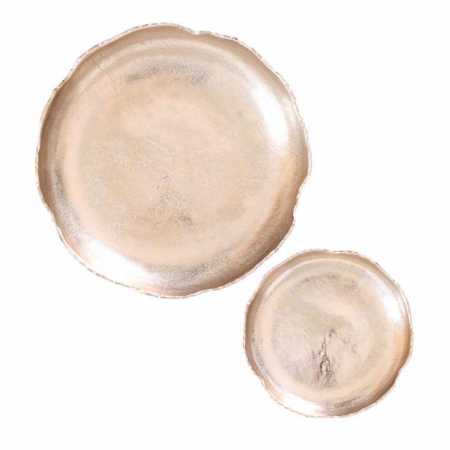 2pc Round Decorative Plates | Gold