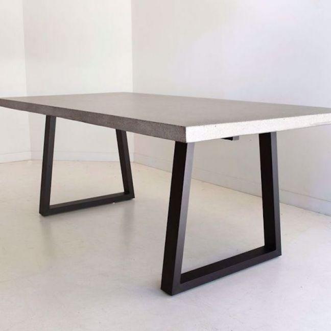 3.0m Sierra Rectangular Dining Table | Speckled Grey with Black Metal Legs | Pre order